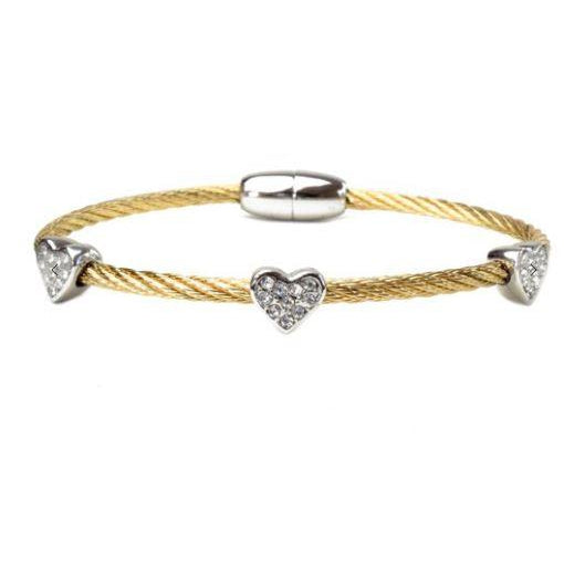 Two Tone Twisted Cable Magnetic Heart Bracelet with Cubic Zirconia - alliemdesignsboutique