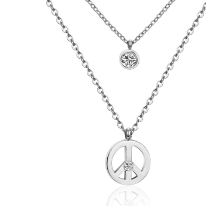 Double Layer Peace Sign Necklace - alliemdesignsboutique