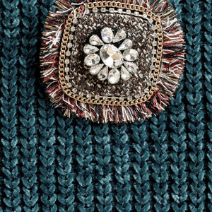 Multi-color fringed threads square brooch embellished with faux gems, rhinestone, and chains - alliemdesignsboutique