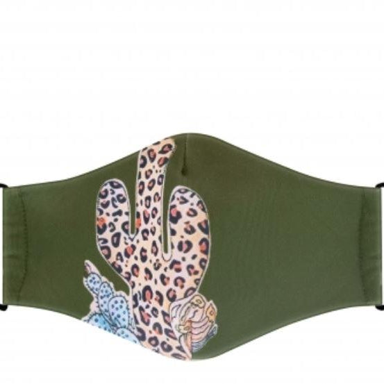 Leopard Cactus Print Face Mask w/ Filter Slot - alliemdesignsboutique