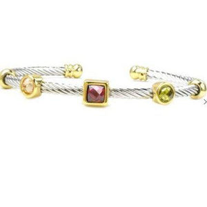 Two Tone Twisted Cable Multi Color CZ Bracelet - alliemdesignsboutique
