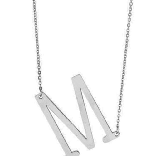 Letter Pendant Necklace - Silver - alliemdesignsboutique