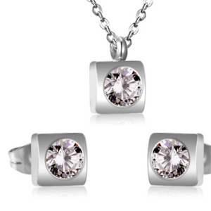 Stainless Steel Square CZ Earring and Necklace Set - alliemdesignsboutique