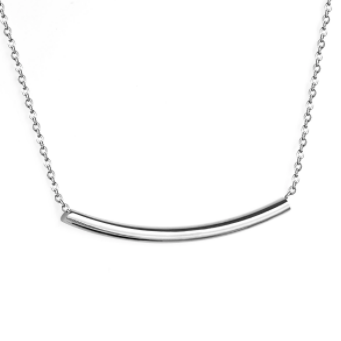 Stainless Steel Curved Bar Necklace - alliemdesignsboutique