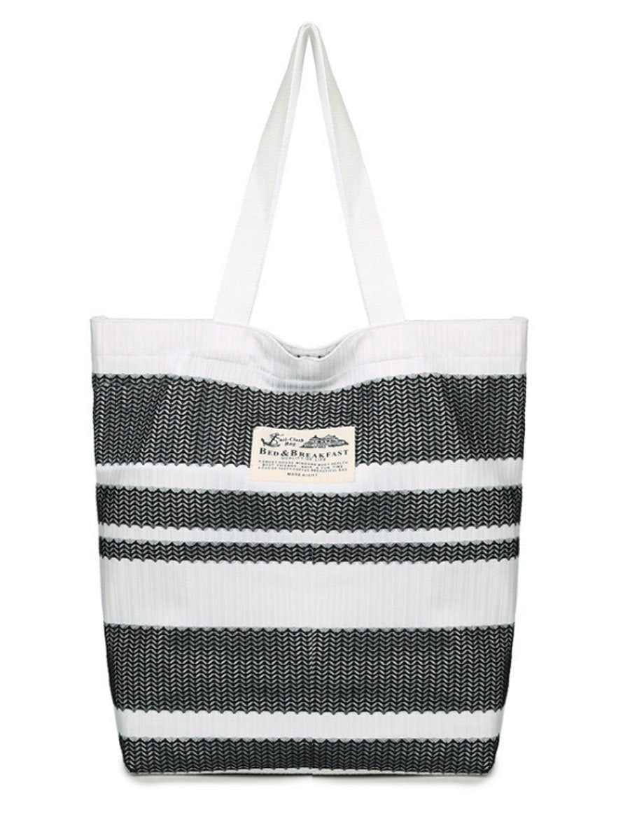 Weave Printed Striped Big Capacity Shoulder Bag