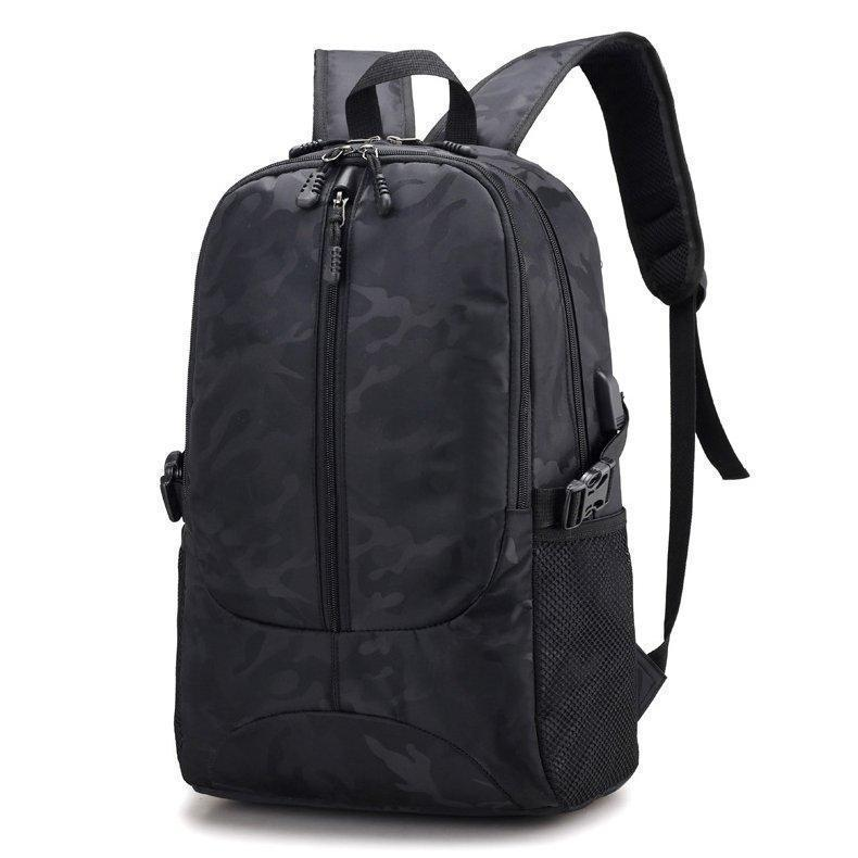 Large Capacity Oxford 18 Inch Laptop Bag USB Charging Port Camouflage Outdoor Travel Backpack