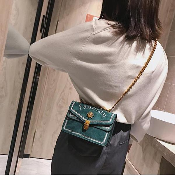 Lady Casual Fashion Rectangle Leather Chain One Shoulder Bag