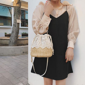 Wild Fashion Lace Straw Shoulder Messenger Bag