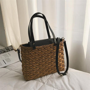 Wild Beach Rattan Straw Single Shoulder Messenger Bag