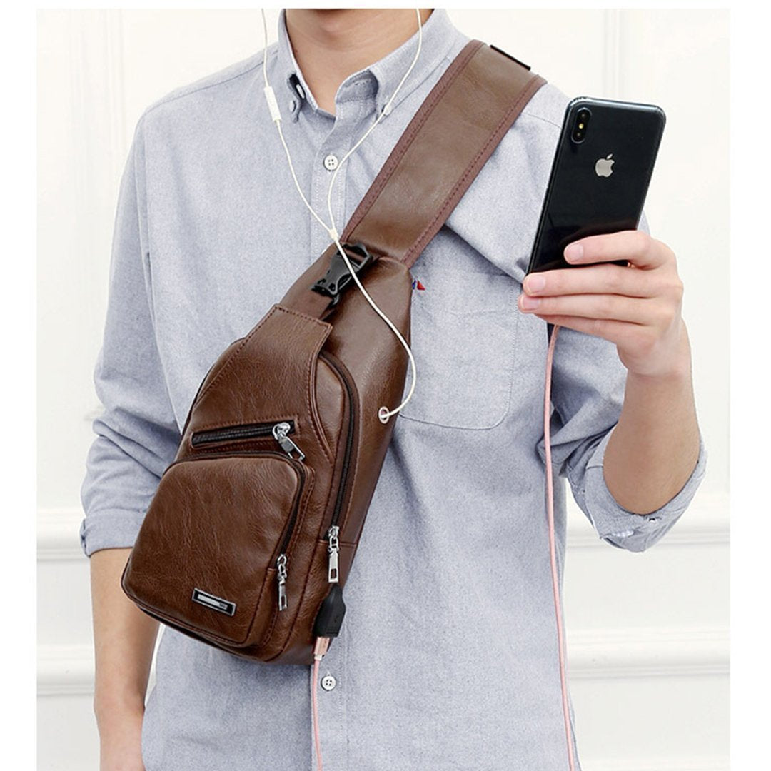 USB men portable charging casual Messenger bag   outdoor sports chest bag