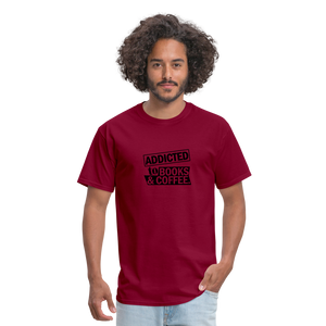 Book and Coffee Addiction T-Shirt - burgundy