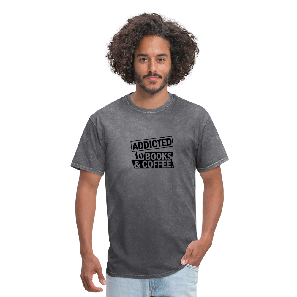 Book and Coffee Addiction T-Shirt - mineral charcoal gray