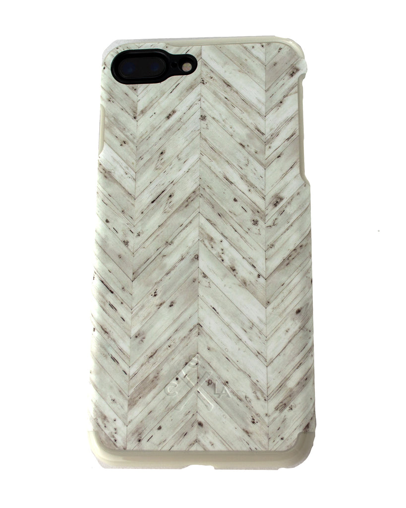 Candywirez White Herringbone Wood Pattern Case