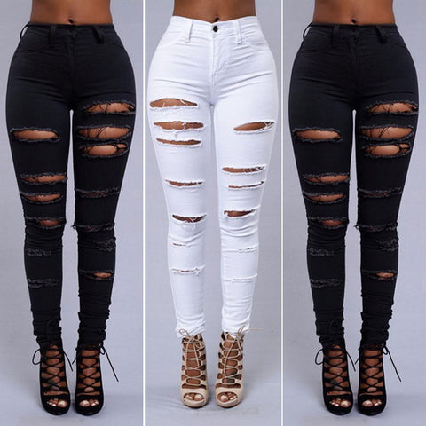 Ripped High Waist Pencil Stretch Skinny Jeans