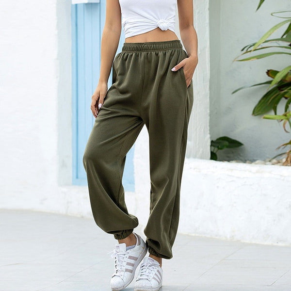 Solid High Waist Joggers