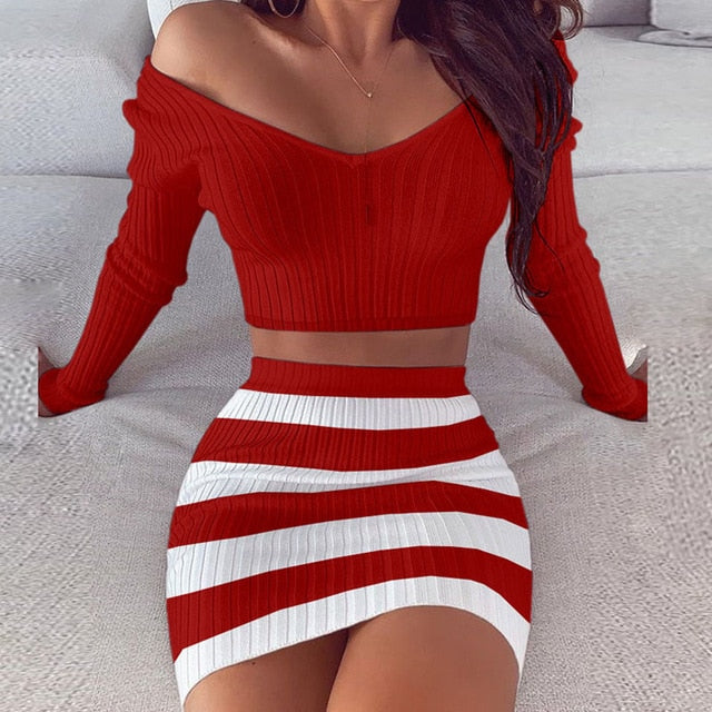 Two Piece Red Fashion Slash Long Sleeve Dress