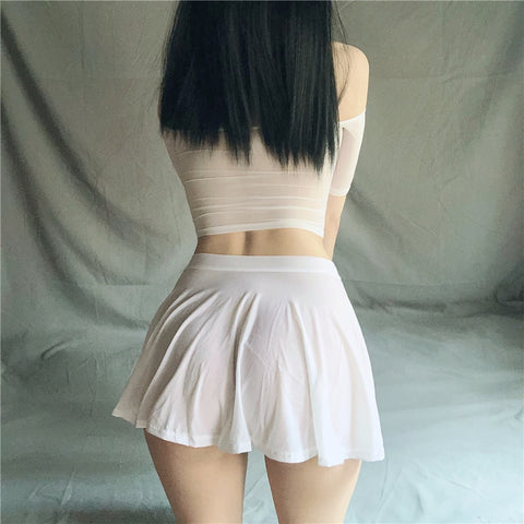 Ice Silk Transparent Mini Skirt