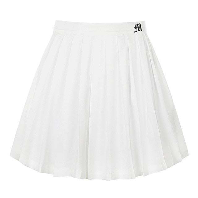 Pleated Mini Skirt Shorts with Letter Print
