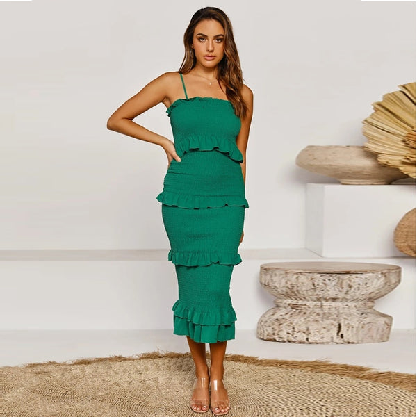 Sling Long Ruffle Dress