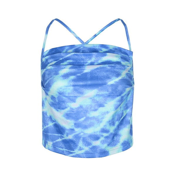 Sexy Halter Tie Dye Backless Crop Top
