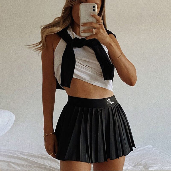 Pleated High Waist Mini Skirt
