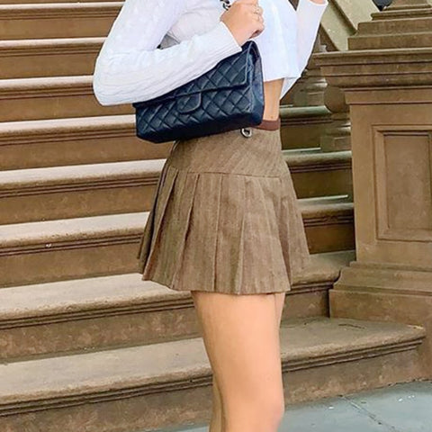 Preppy Khaki Pleated Mini Skirt