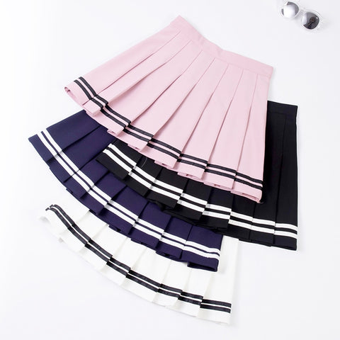 High Waist Double Striped Pleated Skirt