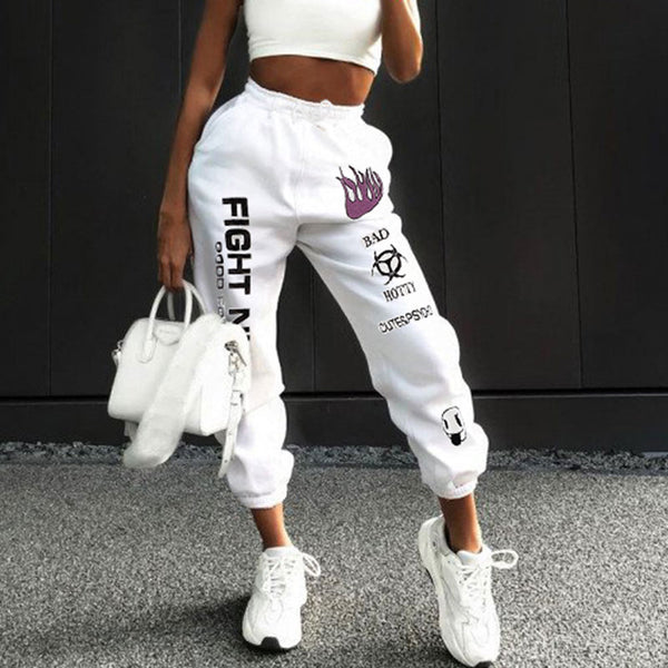 High Waist Streerwear Print Sweatpants