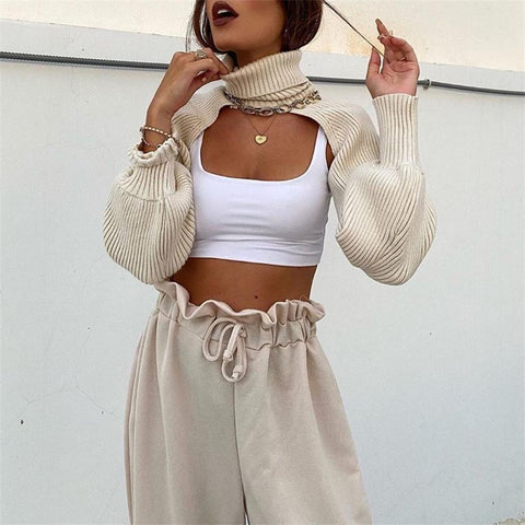 Turtleneck Cutout Crop Sweater