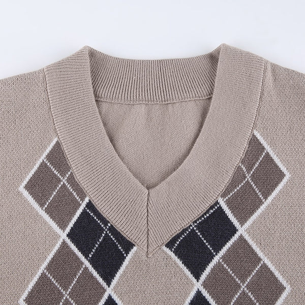 Preppy Style Vintage V Neck Sweater