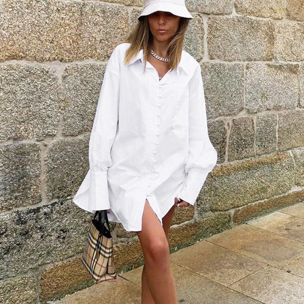 Oversize White Button Up Collar Shirt