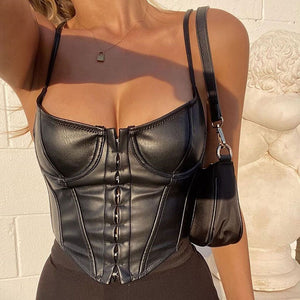 Punk Low-cut Corset Crop Top