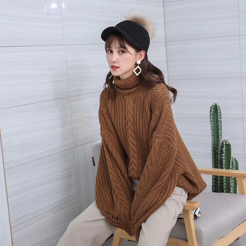 Oversize Knit Turtleneck Sweater