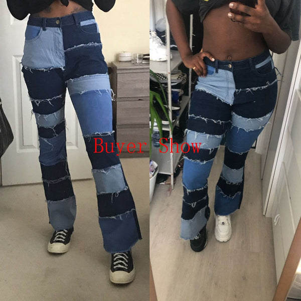 Multicolor Striped Patchwork Jeans