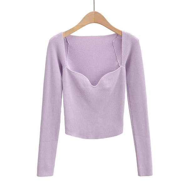 Square Neck Ribbed Knitted Sweater
