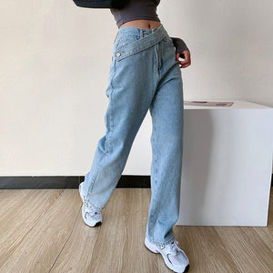 High Waist Asymmetric Belt Cross Jeans