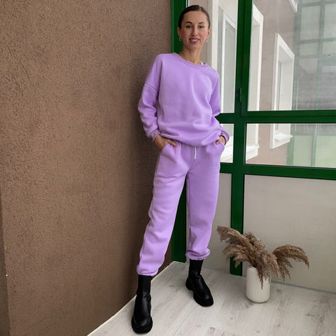 Two Piece Set Basic Sweatshirt & Sweatpants - Lavender