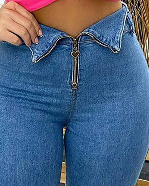 High Waist Zipper Design Skinny Denim Jeans