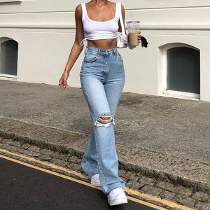 High Waist Knew Wide Ripped Flare Jeans