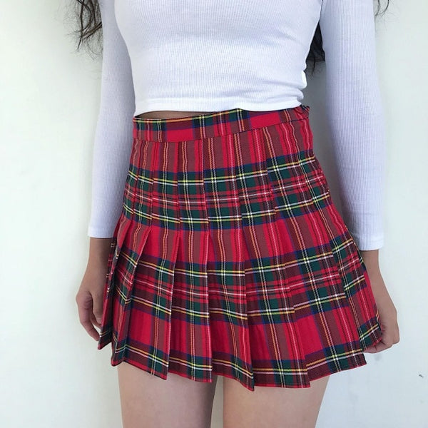 Plaid Pleated Side Button Mini Skirt
