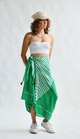 Green Stripe Sarong - Year Round