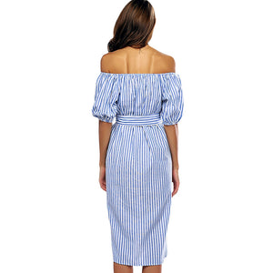 Cold Shoulder Stripe Floral Embroidery Women Dress - SaltyandCozy