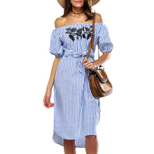 Load image into Gallery viewer, Cold Shoulder Stripe Floral Embroidery Women Dress - SaltyandCozy