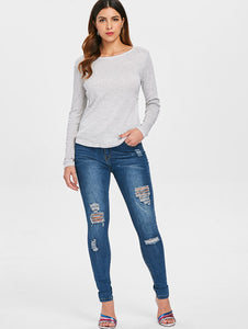 Long Sleeve Open Back T Shirt - SaltyandCozy
