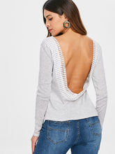Load image into Gallery viewer, Long Sleeve Open Back T Shirt - SaltyandCozy