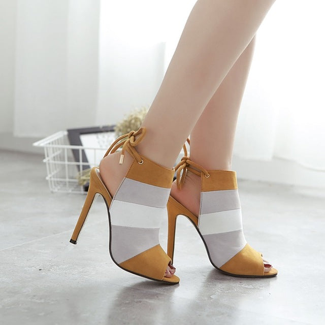 Ankle Strap High Heels Open Toe  Sandals - SaltyandCozy