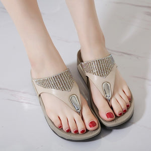 Comfortable Breathable Flat Sandals Crystal Casual Beach Sandals