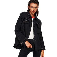 Load image into Gallery viewer, Studded Frayed Hem Denim Jacket  Black Lapel Single Breasted - SaltyandCozy
