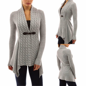 Women's Cable Knit  Cardigan Sweater Long Sleeves - SaltyandCozy