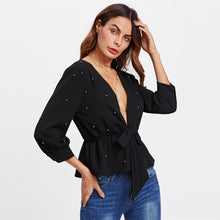 Load image into Gallery viewer, Allover Beading Knot Front Peplum Blouse - SaltyandCozy